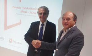 Roberto Elizalde, presidente de ATANA (izquierda) y Julián Jiménez, de la junta directiva de ACAN, encabezaron las delegaciones.